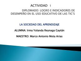 DIPLOMADO: LOGRO DE INDICADORES DE DESEMPEÑO EN EL