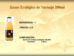 Zumo Ecológico de Naranja 200ml