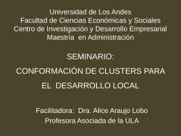 SEMINARIO: CONFORMACIÓN DE CLUSTERS PARA EL