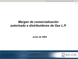 Margen de comercialización a distribuidores de Gas