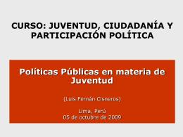 Políticas públicas de juventud: aspectos