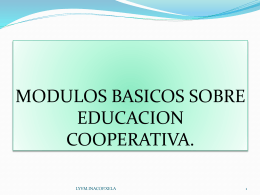 MODULOS BASICOS SOBRE EDUCACION COOPERATIVA.