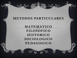 METODOS PARTICULARES MATEMATICO FILOSOFICO