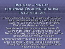 UNIDAD IV – PUNTO 1 ORGANIZACIÓN ADMINISTRATIVA EN