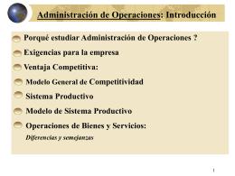 ADMINISTRACION DE LA PRODUCCION/OPERACIONES