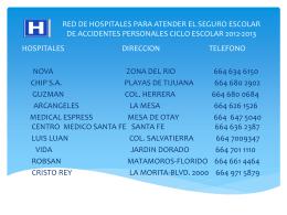 RED DE HOSPITALES PARA ATENDER EL SEGURO ESCOLAR