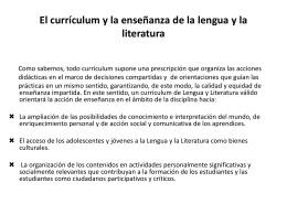 El currículum y la enseñanza de la lengua y la