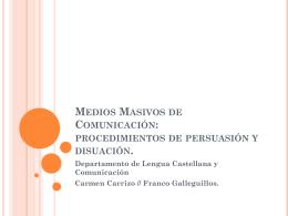 Medios Masivos de Comunicación: procedimientos de