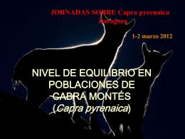 LA CABRA MONTÉS (Capra pyrenaica) PLAN DE GESTIÓN