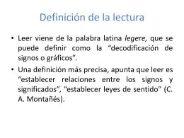 Definición de la lectura