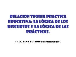 RELACION TEORIA PRACTICA EDUCATIVA: la lógica de