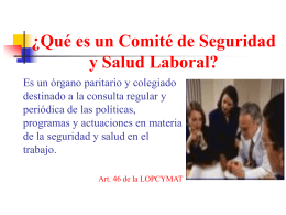 ¿Qué es un Comité de Seguridad y Salud Laboral?