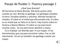 Pasaje de fluidez 1- Fluency passage 1