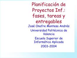 Planificación de Proyectos Inf.: fases, tareas y