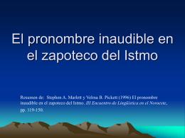 El pronombre inaudible en el zapoteco del Istmo
