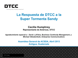 DTCC's Response to Super Storm Sandy