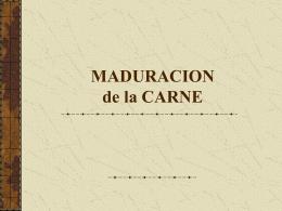 MADURACION de la CARNE - Facultad de Agronomía