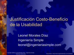 Justificación Costo- Beneficio de la Usabilidad