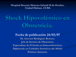 Shock Hipovolémico.