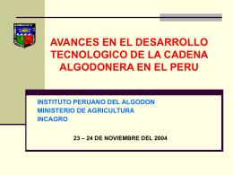 LOGROS DEL PROGRAMA DE INVESTIGACION DEL ALGODÓN