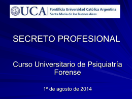 SECRETO PROFESIONAL - UCA Pontificia Universidad