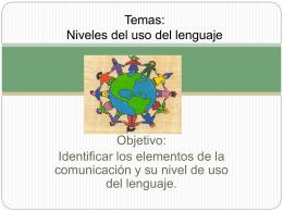Temas: Niveles del uso del lenguaje.