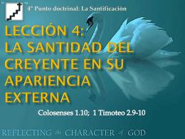 Lección 4: La santidad del creyente en su
