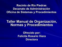 Recinto de Río Piedras Decanato de Administración