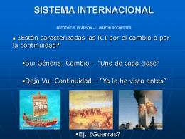 SISTEMA INTERNACIONAL - Relaciones Internacionales