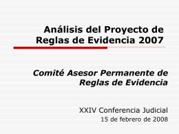 Informe de Reglas de Derecho Probatorio 2007