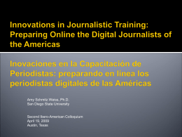 Innovations in Journalism Training in the