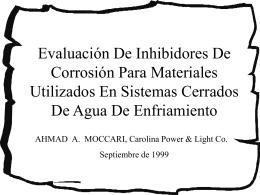 Evaluación De Inhibidores De Corrosión Para
