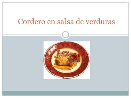Cordero en salsa de verduras