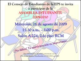 El Consejo de Estudiantes del CPRS te invita a