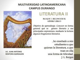 LITERATURA II BLOQUE 1 RECONOCES EL GENERO LIRICO