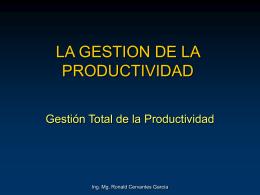 LA GESTION DE LA PRODUCTIVIDAD
