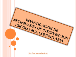 INVESTIGACIÓN DE NECESIDADES DE INTERVENCION