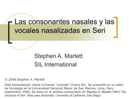 Las consonantes nasales en Seri