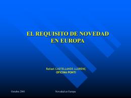 EL REQUISITO DE NOVEDAD EN EUROPA