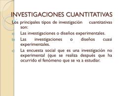 INVESTIGACIONES CUANTITATIVAS -