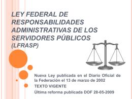 LEY FEDERAL DE RESPONSABILIDADES ADMINISTRATIVAS