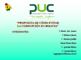 """LA CORRUPCIÓN EN BOLIVIA"""" ¿CÓMO EVITARLA? EL"""