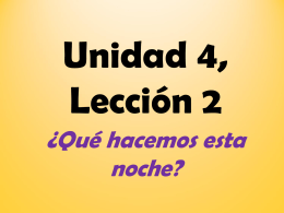 Unidad 4, Lección 2