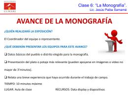 AVANCE DE LA MONOGRAFÍA