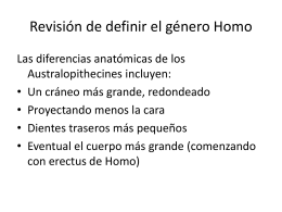 Recap of Defining the Genus Homo