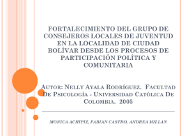 FORTALECIMIENTO DEL GRUPO DE CONSEJEROS LOCALES DE