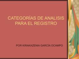 CATEGORÍAS DE ANALISIS PARA EL REGISTRO