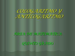 COLOGARITMO Y ANTILOGARITMO - pesolis