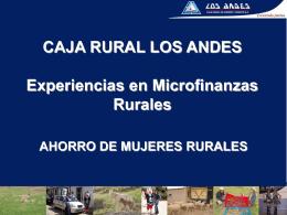 CAJA RURAL LOS ANDES Experiencias en Microfinanzas