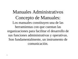 Manuales Administrativos Concepto de Manuales: Los